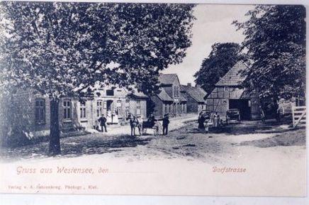 Postkarte - Dorfstraße in Westensee