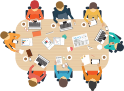 Gemeindevertretersitzung mit 8 Personen an einem Tisch